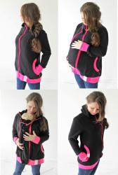 TESILNÁ POČESANÁ teplákovina 100% Bavlna - 4v1 mikina s kapucí: Těhu, Nosící, Kojící, Normal