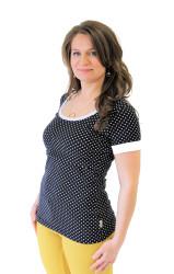 BAVLNA - 3v1 Kojící tričko, kr. ruk., výstřih U - PUNTÍK - barevný lem - KI1TPUPUNL70