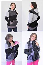 100% BAVLNA, teplákovina - 2v1 mikina s kapucí: Těhu, Nosící, Normal - vícebarevná