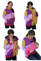 silná POČESANÁ teplákovina 100% Bavlna - 3v1 mikina s kapucí: Kojící, Nosící, Normal - vícebarevná