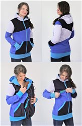 TEPLÁKOVINA 100% BAVLNA - 3v1 mikina s kapucí: Kojící, Nosící, Normal - vícebarevná