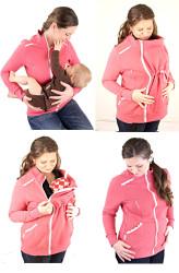 silná POČESANÁ teplákovina 100% Bavlna - 3V1 mikina s krajkou a stojáčkem: Těhu, Kojící, Nosící, Normal