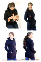 silná POČESANÁ teplákovina 100% Bavlna - 3v1 mikina s kapucí, jednobarevná: Kojící, Nosící, Normal