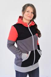 silná POČESANÁ teplákovina 100% Bavlna - 2v1 mikina s kapucí: Kojící, Normal - vícebarevná