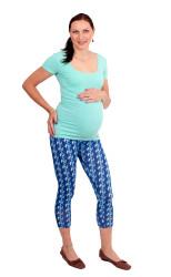 Těhotenské 3/4 legíny - MODRÉ LÍSTKY - LIT2LTP80