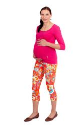 Těhotenské 3/4 legíny - KVĚTY - KVT2LTP80