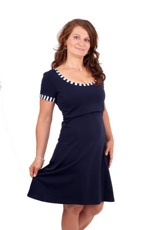 BAVLNA - NÁMOŘNÍ - 3v1 kojící šaty - Ačková sukně, větší výstřih v ZD, krátký rukáv