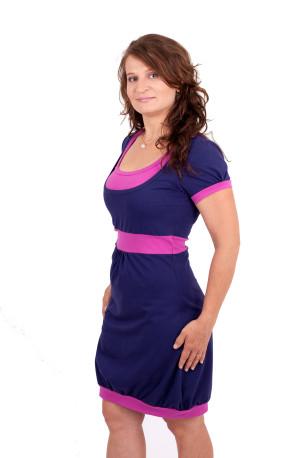 BAVLNA - jednobarevné - Balonové 3v1 kojící šaty, krátký rukáv