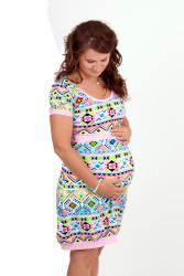 BAVLNA - VÝBĚR KRÁSNÝCH VZORŮ - Balonové 3v1 těhotenské šaty, krátký rukáv