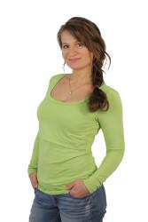 LETNÍ MERINO - 3v1 Kojící tričko výstřih 10cm do U, dl. ruk.