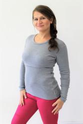 LETNÍ MERINO - 3v1 Kojící tričko výstřih 7cm do U, dl. ruk.