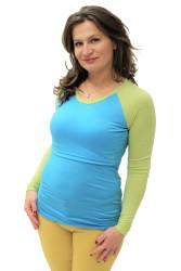 LETNÍ MERINO - 3v1 Kojící tričko výstřih 10cm do U, raglan dl. ruk.