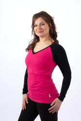 LETNÍ MERINO - 3v1 Kojící tričko výstřih 10cm do V, raglan dl. ruk.