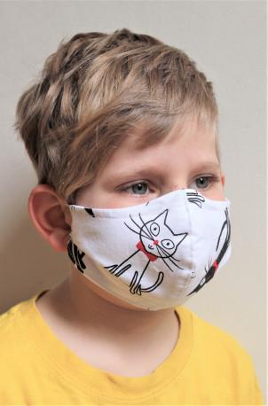 DĚTSKÁ ROUŠKA - Trojitá s kapsou na filtr s drátkem - kočička