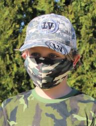 DĚTSKÁ ROUŠKA DESIGNOVÁ - Trojitá s kapsou na filtr s drátkem - army green
