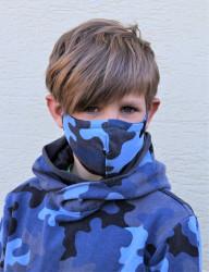 DĚTSKÁ ROUŠKA - Trojitá s kapsou na filtr s drátkem - ARMY BLUE