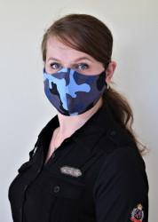 DÁMSKÁ ROUŠKA - Trojitá s kapsou na filtr s drátkem - modrá maskáč
