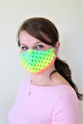 DÁMSKÁ ROUŠKA - Trojitá s kapsou na filtr s drátkem - žlutá neon s puntíkem