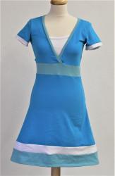 BAVLNA - 3v1 kojící FIALOVÉ šaty, V vsadka, A sukně, kr. ruk.