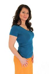 LETNÍ MERINO - tričko, V-výstřih 10cm, kr. ruk.. - jednobarevé - MLTU170