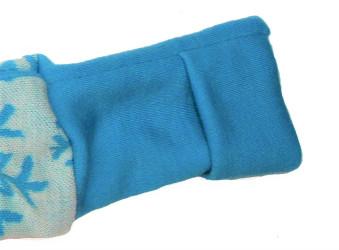 Prodloužení nápletů rukávů u mikiny z merino vlny - zakrytí dlaní a otvor na palec