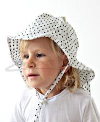 ROSTOUCÍ klobouček PAMPALÍNY, 100%Bavlna - černé puntíky na bílé