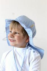 ROSTOUCÍ klobouček PAMPALÍNY, 100%Bavlna - modro bílý proužek
