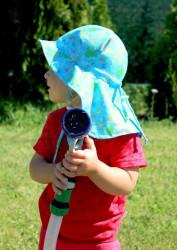 ROSTOUCÍ klobouček PAMPALÍNY, 100%Bavlna - ŽABIČKY a MOTÝLCI na modré