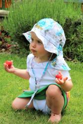 ROSTOUCÍ klobouček PAMPALÍNI, 100%Bavlna - KVĚTY: modro/bílá