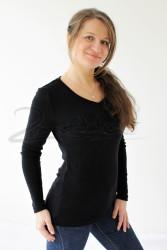 LETNÍ MERINO tričko, dl. ruk., výstřih do V - MLTW370