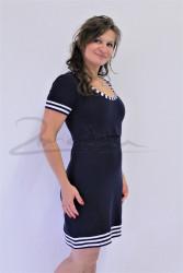 Pouzdrové NÁMOŘNÍ kojící šaty s lemem, kr. ruk.