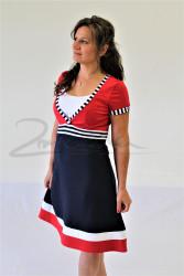 BAVLNA - 3v1 NÁMOŘNÍ kojící šaty, V vsadka, A sukně, kr. ruk.
