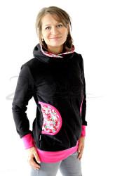 BAVLNA - Kojící, Normal mikina s kapucí: černá, malina, kytičky