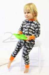 Rostoucí merino kalhoty/kamaše - AUTA na barevném podkladu - MERGAK