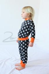 Rostoucí pyžamko z MERINA - HVĚZDY na barevném podkladu - MERPYZHVE