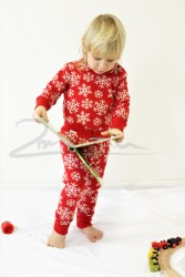 Rostoucí pyžamko z MERINA - VLOČKY na barevném podkladu - MERPYZVLO