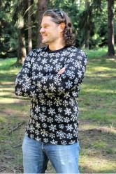 ZIMNÍ MERINO - Tričko, dlouhý rukáv - VLOČKY - pánské - výstřih U - MPLTVL372