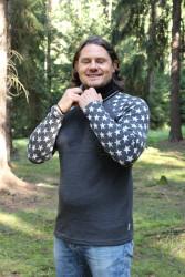 ZIMNÍ MERINO - Tričko, dlouhý rukáv - HVĚZDY - pánské - raglan rukáv- MPLTHV372