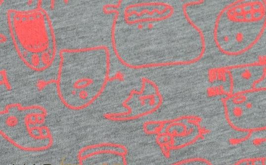 příšerky neon - růžová na šedém melíru