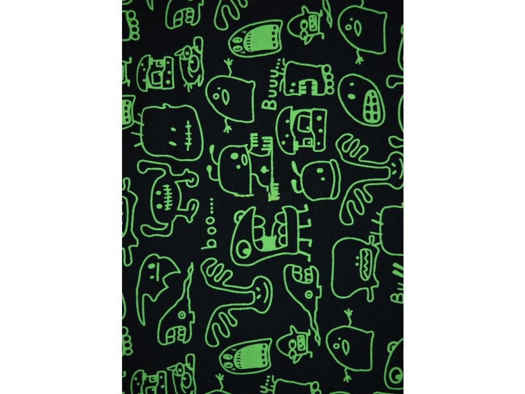 příšerky neon zelená na černé